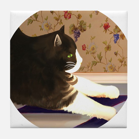 Cat Stretching Tile Coaster