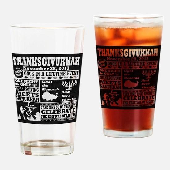 Thanksgiving meets Hanukkah Thanksg Drinking Glass