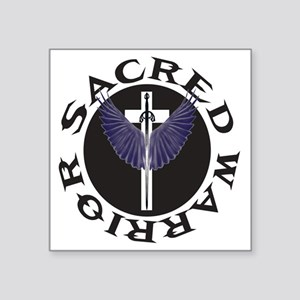 "sacred-warrior-cross-logo Square Sticker 3"" x 3"""