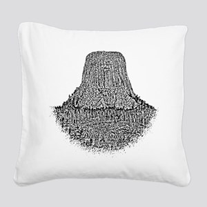 B@W Devils Tower Square Canvas Pillow