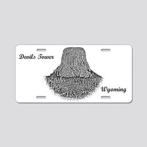 B@w Devils Tower Aluminum License Plate