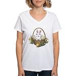 Pocket Easter Bunny Women's V-Neck T-Shirt