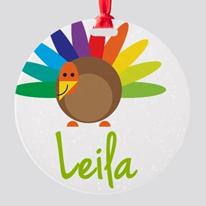 Leila-the-turkey Round Ornament