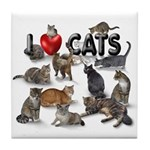 "Tile Coaster ""I Love Cats"""
