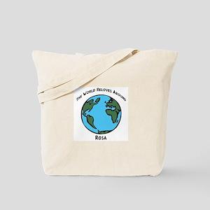 Revolves around Rosa Tote Bag