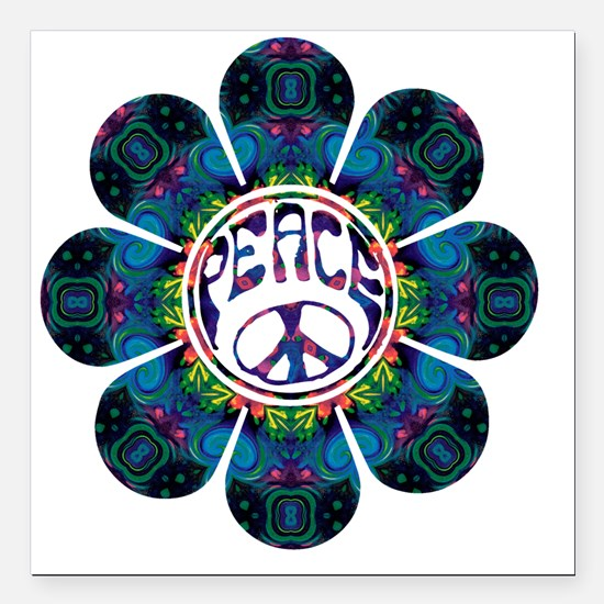 "Peace Flower - Festival Square Car Magnet 3"" x 3"""