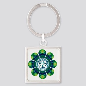 Peace Flower - Meditation Square Keychain