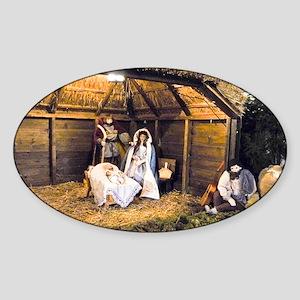 Nativity Family Sticker (Oval)