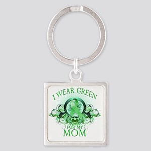 I Wear Green for my Mom (floral) Square Keychain