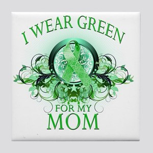 I Wear Green for my Mom (floral) Tile Coaster