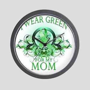 I Wear Green for my Mom (floral) Wall Clock