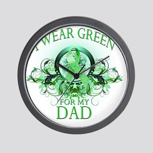 I Wear Green for my Dad (floral) Wall Clock