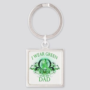 I Wear Green for my Dad (floral) Square Keychain