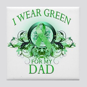 I Wear Green for my Dad (floral) Tile Coaster