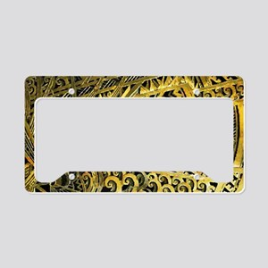 Art Deco Gold Floral Ornament License Plate Holder