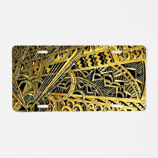 Art Deco Gold Floral Ornament Aluminum License Pla