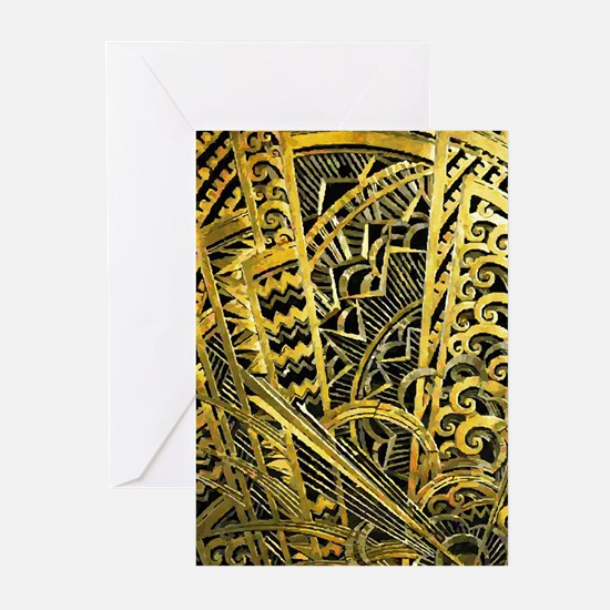 Art Deco Gold Floral Ornament Greeting Cards