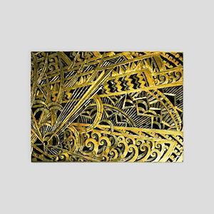 Art Deco Gold Floral Ornament 5'x7'Area Rug