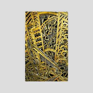 Art Deco Gold Floral Ornament Area Rug