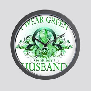 I Wear Green for my Husband (floral) Wall Clock