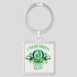 I Wear Green for my Son (floral) Square Keychain
