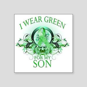"I Wear Green for my Son (fl Square Sticker 3"" x 3"""