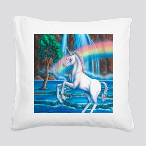 Rainbow_Unicorn_16x20 Square Canvas Pillow