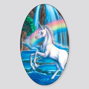 Rainbow_Unicorn_16x20 Sticker (Oval)