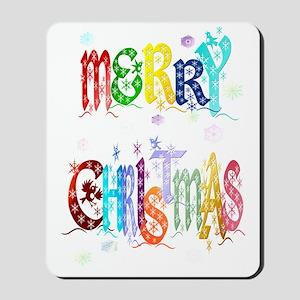 Big Colorful Merry Christmas Trans Mousepad