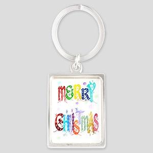 Big Colorful Merry Christmas Tra Portrait Keychain