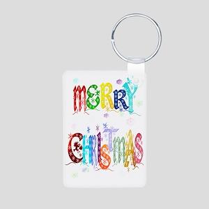 Big Colorful Merry Christm Aluminum Photo Keychain