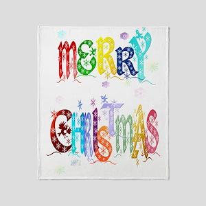 Big Colorful Merry Christmas Trans Throw Blanket
