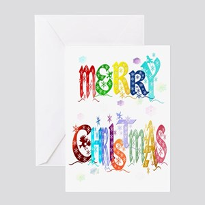 Big Colorful Merry Christmas Trans Greeting Card
