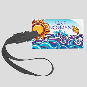 Lake Norman Waves  Sun Large Luggage Tag