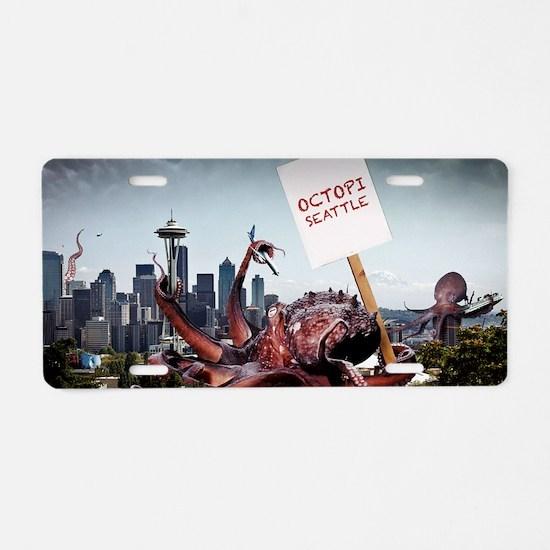 Octopi Seattle Large Poster Aluminum License Plate
