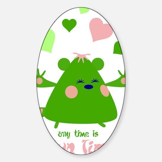 hugtime-green Sticker (Oval)