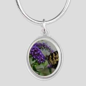 ButterflyhbdayDaughterinlaw Silver Oval Necklace