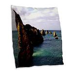 Portugal Ocean Burlap Throw Pillow