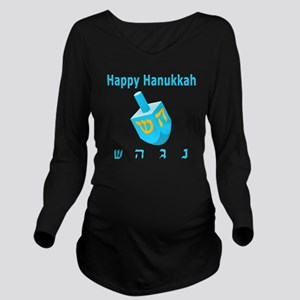 Dreidel 7 Blue 3D Long Sleeve Maternity T-Shirt