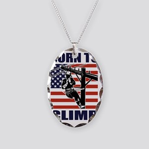 american power lineman electri Necklace Oval Charm