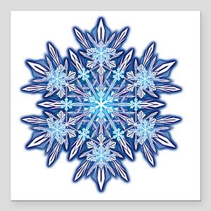 "Snowflake Designs - 012  Square Car Magnet 3"" x 3"""