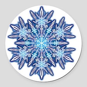 Snowflake Designs - 012 - transpa Round Car Magnet