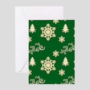Green Christmas Snowflakes Swirls Greeting Cards