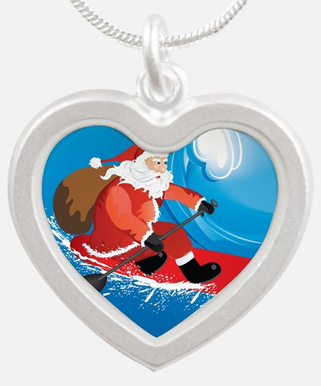 Santa Stand Up Paddle Orname Silver Heart Necklace