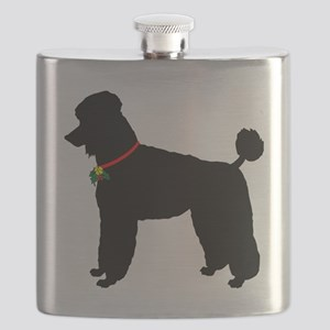 Poodle Christmas or Holiday Silhouette Flask