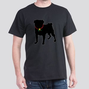 Pug Christmas or Holiday Silhouette Dark T-Shirt