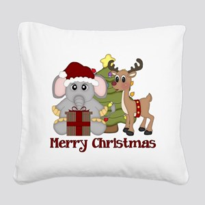 Christmas Elephant and Reinde Square Canvas Pillow