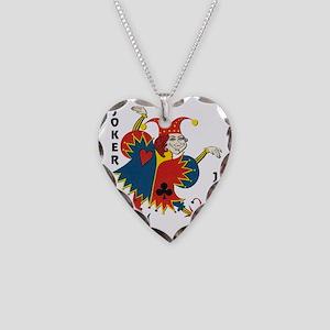 Vintage Dancing Wacky Joker Necklace Heart Charm
