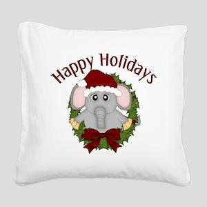 Happy Holidays Christmas Elep Square Canvas Pillow