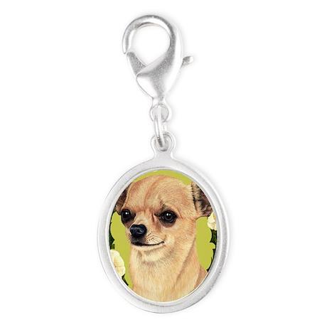 Chihuahua Seasonal Silver Oval Charm